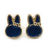 Children's/ Teen's / Kid's Tiny Navy Blue Enamel 'Bunny' Stud Earrings In Gold Plating - 10mm Length