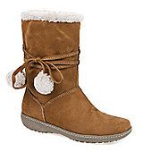 Pavers Calf Boot with Wraparound Lace & Pom Poms - Tan
