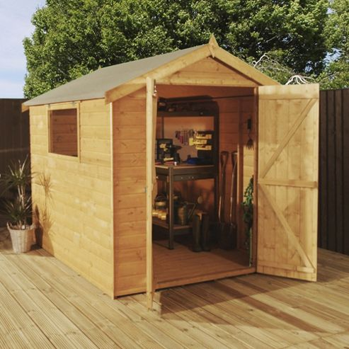 Buy mercia premium shiplap apex wooden shed 8x6ft from for Garden shed tesco
