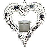 Heart - Hanging Tea Light Candle Holder - Cream
