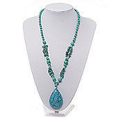 Long Turquoise Bead Medallion Necklace - 70cm Length
