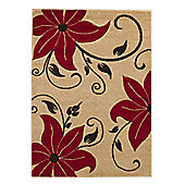 Think Rugs Verona Beige/Red Carved Rug - Runner 60 cm x 225 cm (1 ft 11 in x 7 ft 5 in)