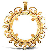 Jewelco London 9ct Solid Gold casted half-size Sovereign coin pendant mount with a floral design edge