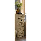 Alto Furniture Visualise 5 Drawer Tallboy Chest - Oak