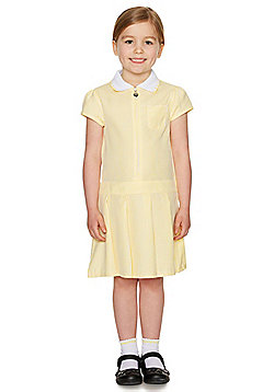 F&F School Girls Gingham Zip Dress with Scrunchie - Yellow