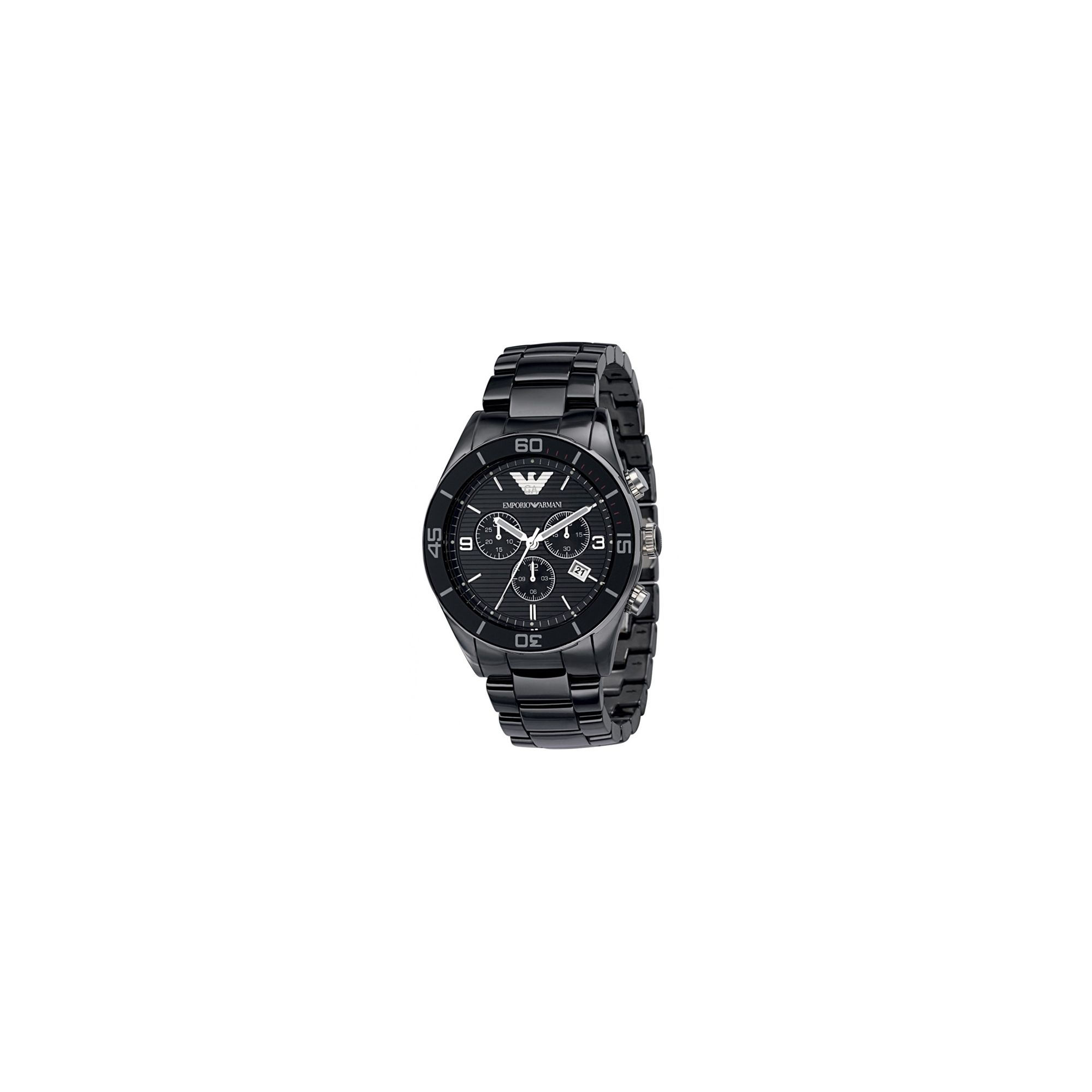 Emporio Armani Black Ceramica Chrono Watch AR1421 at Tesco Direct