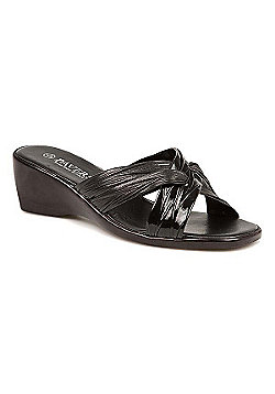 Pavers Mid-Heel Wedge Mule with Crossover Straps Black - 2 - Black