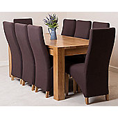 Kuba Chunky Solid Oak 180 cm Dining Table with 8 Brown Lola Fabric Chairs