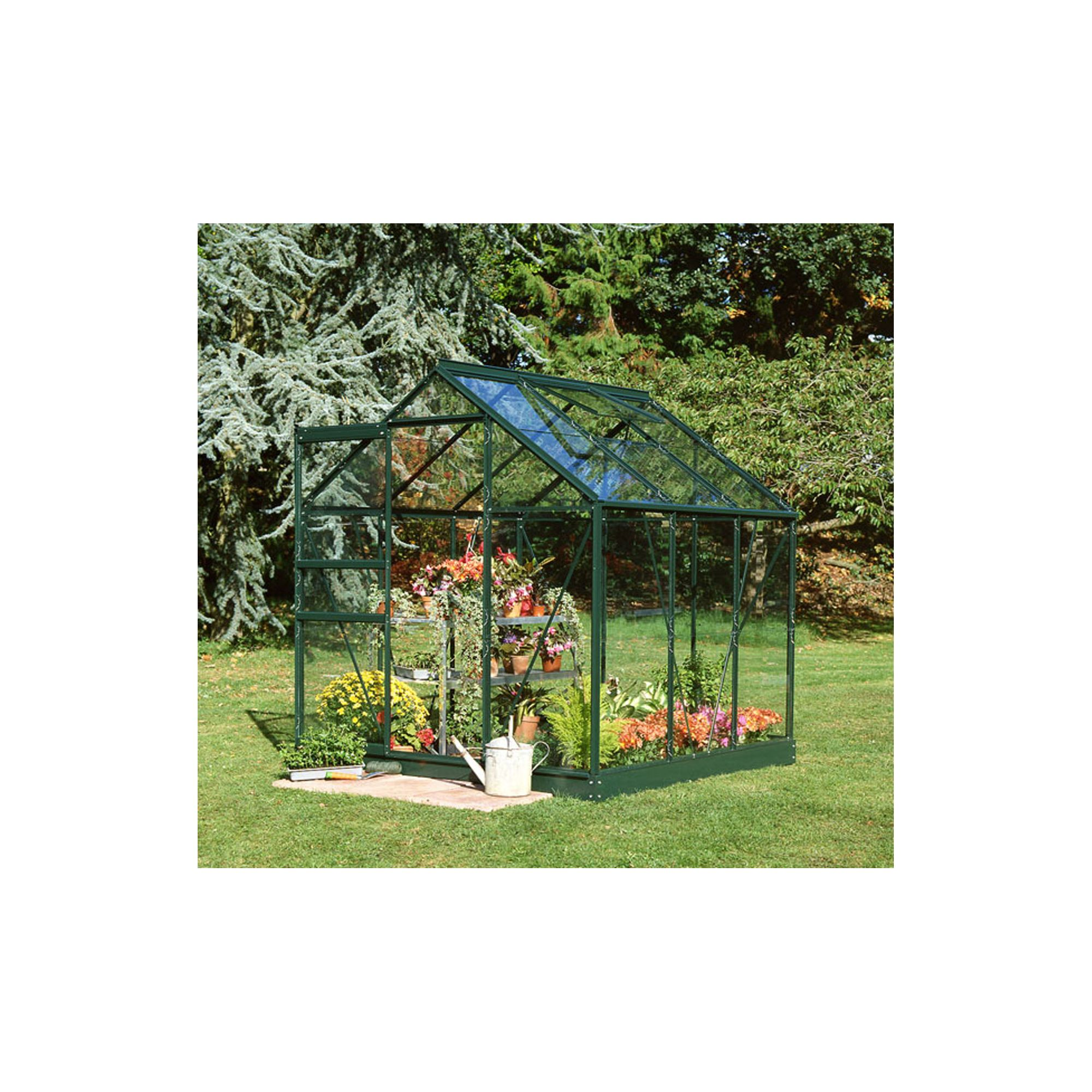 Halls 6x6 Popular Greenframe Greenhouse + Base - Toughened Glass at Tesco Direct