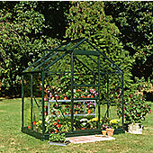 Halls 4x6 Popular Greenframe Greenhouse + Base - Horticultural Glass