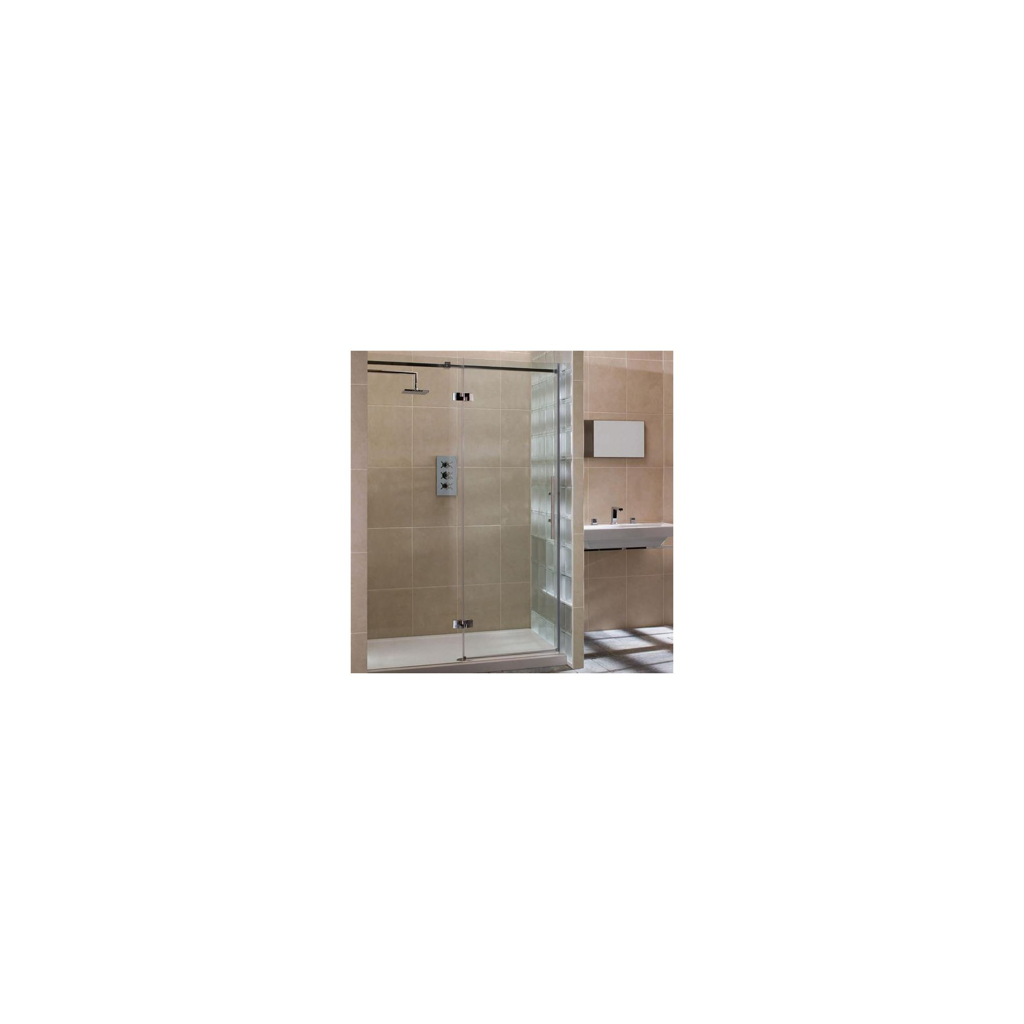 Merlyn Vivid Nine Hinged Door Alcove Shower Enclosure with Inline Panel, 1400mm x 900mm, Left Handed, Low Profile Tray, 8mm Glass at Tesco Direct