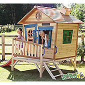 Redwood Penthouse Wooden Playhouse with Slide - Painted Wendy House 6ft x 5ft