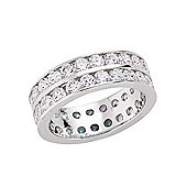 Jewelco London Rhodium-Coated Sterling Silver CZ Double Eternity Ring Size