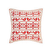 Linea Christmas Folk Embroidered Cushion, Red