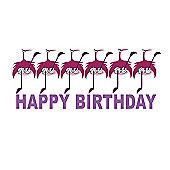 Holy Mackerel Greetings Card- Happy birthday dancing Flamingo