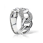 The REAL Effect Rhodium Plated Sterling Silver Cubic Zirconia Dress Ring Size
