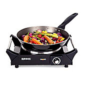 Duronic HP1BK Black Single Table Top Hot Plate / Boiling Hob with Handles