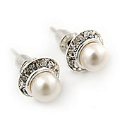 Prom/ Teen's / Kid's Small Simulated Pearl Crystal Stud Earrings In Silver Tone - 9mm Diameter