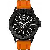Nautica Gents Orange Rubber Strap Watch A17595