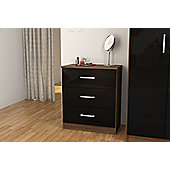 Cannes 3 drawer chest walnut colour frame & black drawers