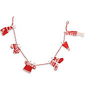 Pegged Knitted Washing Line Christmas Garland In Red & White