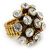 'Space Jam' Dome-Shaped Crystal Cluster Ring (Gold Tone) - Adjustable size 7/8