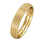 Jewelco London 18ct Yellow Gold - 4mm Essential Court-Shaped Ribbed Band Commitment / Wedding Ring -