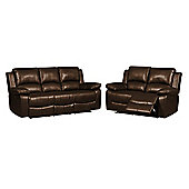 Jordan Three Plus Two Seater Recliner Sofa Brown