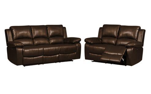Buy Jordan Three Plus Two Seater Recliner Sofa Brown From