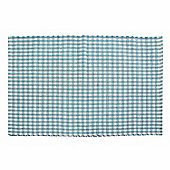 Homescapes Cotton Gingham Check Rug Hand Woven Blue White, 60 x 90 cm