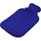 Full Size Hot Water Bottle with Arran Knitted Removable Washable Cover - Blue