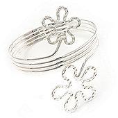 Rhodium Plated 'Flower' Upper Arm Bracelet Armlet