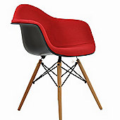 Eames Replica Dining Chair DAW Black With Red Padded Seat