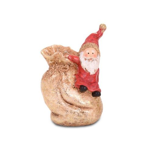 Cute Father Christmas Climbing On A Toy Sack Ornament