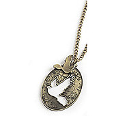 Vintage Style Cut Out Bird Oval Pendant