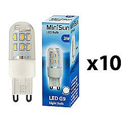 Pack of 10 MiniSun 3W High Power LED G9 Light Bulbs in Cool White