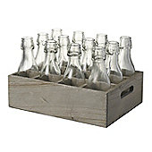 Parlane Distressed Wooden Crate with 12 x Glass Bottles - 20 x 29.5cm