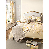 Catherine Lansfield Home designer collection Panel Print Gold Flora Double Cotton Rich Quilt Set