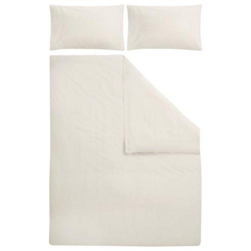 Tesco Poly/Cotton Plain Dye Bedset Cream Double