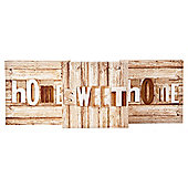 3  Pack Tryptch Canvas  Wood Block Home Sweet Home