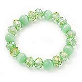 Light Green Glass Bead Flex Bracelet - 18cm Length