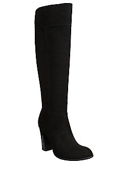 F&F Faux Suede Knee High Boots - Black