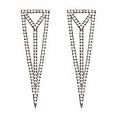 Silver drop earrings with pave triangle design