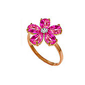 QP Jewellers Diamond & Pink Topaz Foliole Ring in 14K Rose Gold