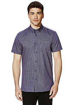 F&F Signature Sateen Slim Fit Short Sleeve Shirt - Red & Blue