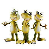 Set of Three Cheerful Standing Resin Frog Garden or Home Ornaments