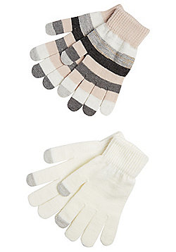 F&F 2 Pair Pack of Striped and Sparkly Touch Screen Gloves - Multi