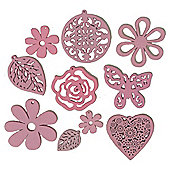 Wood Shapes Pink 10Pcs
