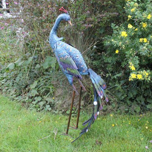 buy large garden peacock coloured metal ornament in blue. Black Bedroom Furniture Sets. Home Design Ideas