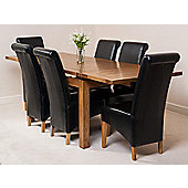 Farmhouse Rustic Solid Oak 160 cm Butterfly Extending Dining Table with 6 Montana Leather Chairs (Black)